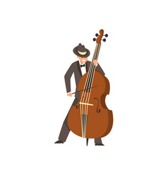 Cellist man playing cello musicain wearing black vector