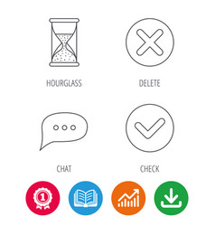 Chat speech bubble hourglass and check icons vector