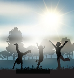 Children playing in the countryside vector
