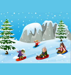 Children playing winter sports on the snowing hill vector