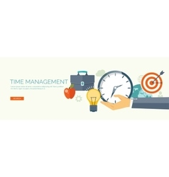 Clock flat icon World time concept Business vector image