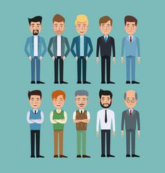 color background full body set of multiple men vector image