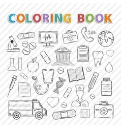 coloring bookMedical set vector image