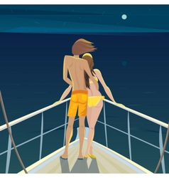 Couple on the boat at night admiring the stars vector