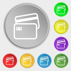 Credit card icon sign Symbol on eight flat buttons vector image