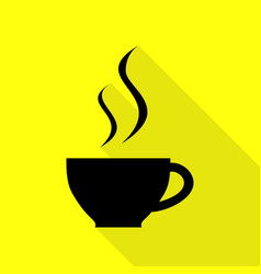 cup of coffee sign black icon with flat style vector image