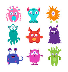 Cute cartoon baby monsters collection vector