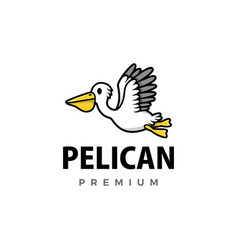 cute pelican cartoon logo icon vector image
