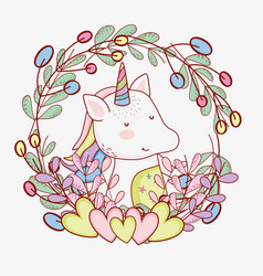 Cute unicorn with hearts and branches leaves vector