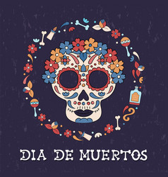 day dead floral sugar skull icon spanish vector image