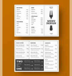 design trifold menu for a cafe or vector image