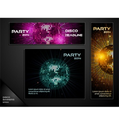 disco ball mosaic banners vector image