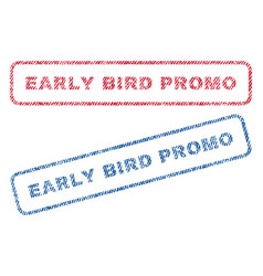 Early bird promo textile stamps vector