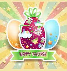easter card with easter eggs and banner vector image