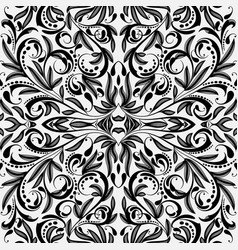 Elegance black and white paisley seamless pattern vector