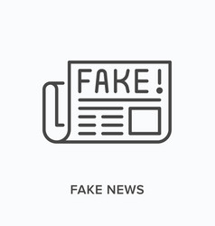 fake news flat line icon outline vector image