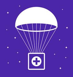 First aid kit falls parachute vector