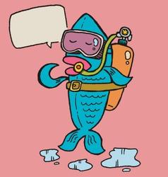 Fish diver vector