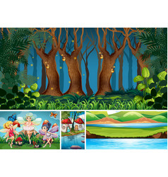 four different scene fantasy world with vector image