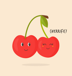 Funny sweet cherry character design vector