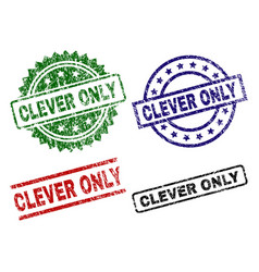 Grunge textured clever only seal stamps vector