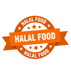 halal food ribbon halal food round orange sign vector image