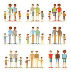 Happy male gay couple with foster children vector