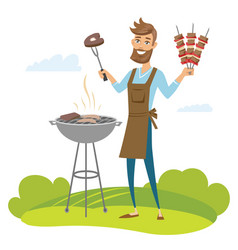Happy man grilling meat on barbecue grill vector