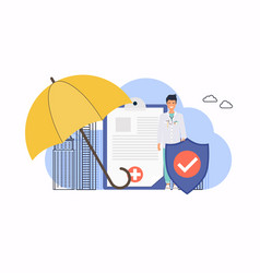 Health insurance big clipboard with document vector