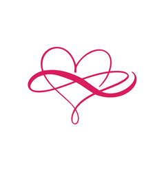 Heart love logo with infinity sign design vector