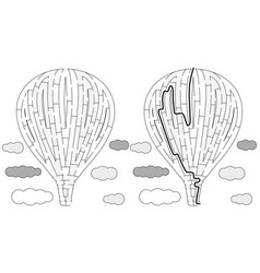 hot air balloon maze vector image