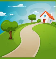 house inside green fields vector image