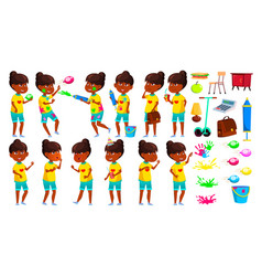 indian girl poses set primary school child vector image