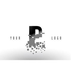 Ip i p pixel letter logo with digital shattered vector