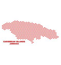jamaica map - mosaic of love hearts vector image