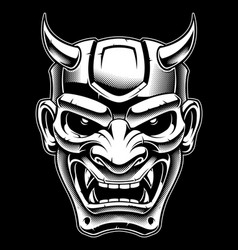 japanese demon mask blackand white version vector image