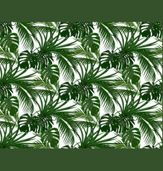 Jungle green leaves of tropical palm trees vector