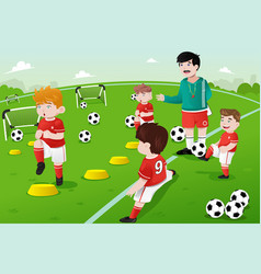 Kids in soccer practice vector