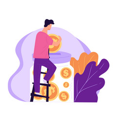 male character saving money man with coins and vector image