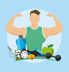 Man athlete character with healthy lifestyle icons vector