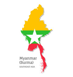 Map myanmar with national flag vector