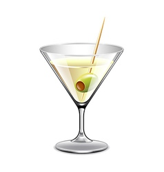 Martini in glass isolated on white vector image