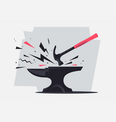 Metal anvil with a hammer with sparks vector
