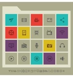 Multimedia icon set Multicolored square flat vector