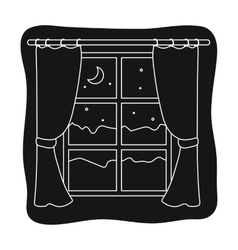 Night out the window icon in black style isolated vector image