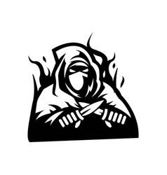 Ninja mascot logo outline version logo vector