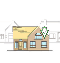 outline drawing a country house with a security vector image