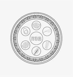 Passover holiday seder plate flat black outline vector