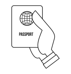 Passport icon outline style vector image