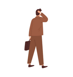 Questioned confused man hesitating standing vector